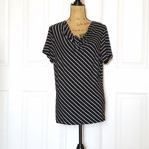 Black & white striped s/s top draped neck  NWOT